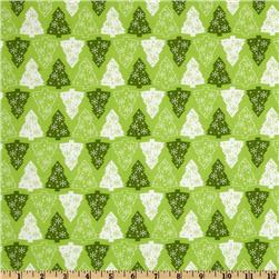 Merry Christmas Christmas Trees Green Fabric