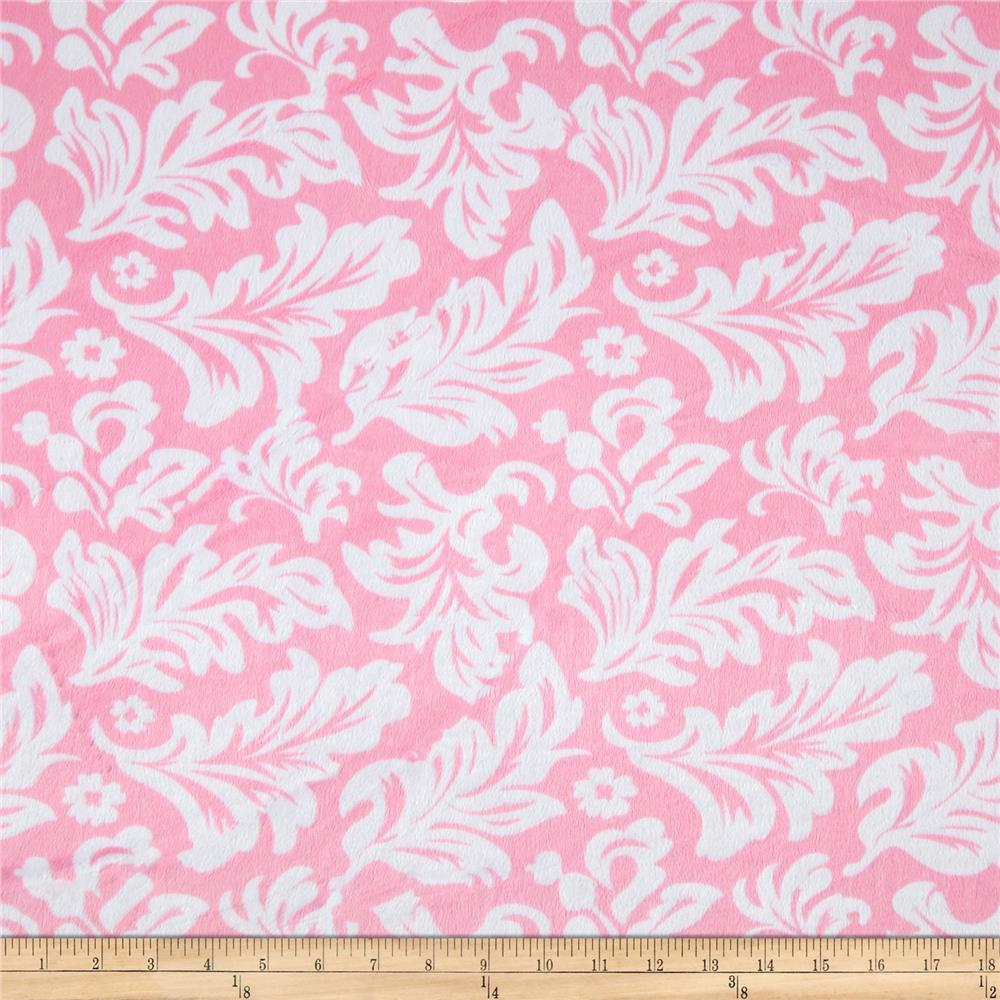Minky Tossed Leaves Pink/White