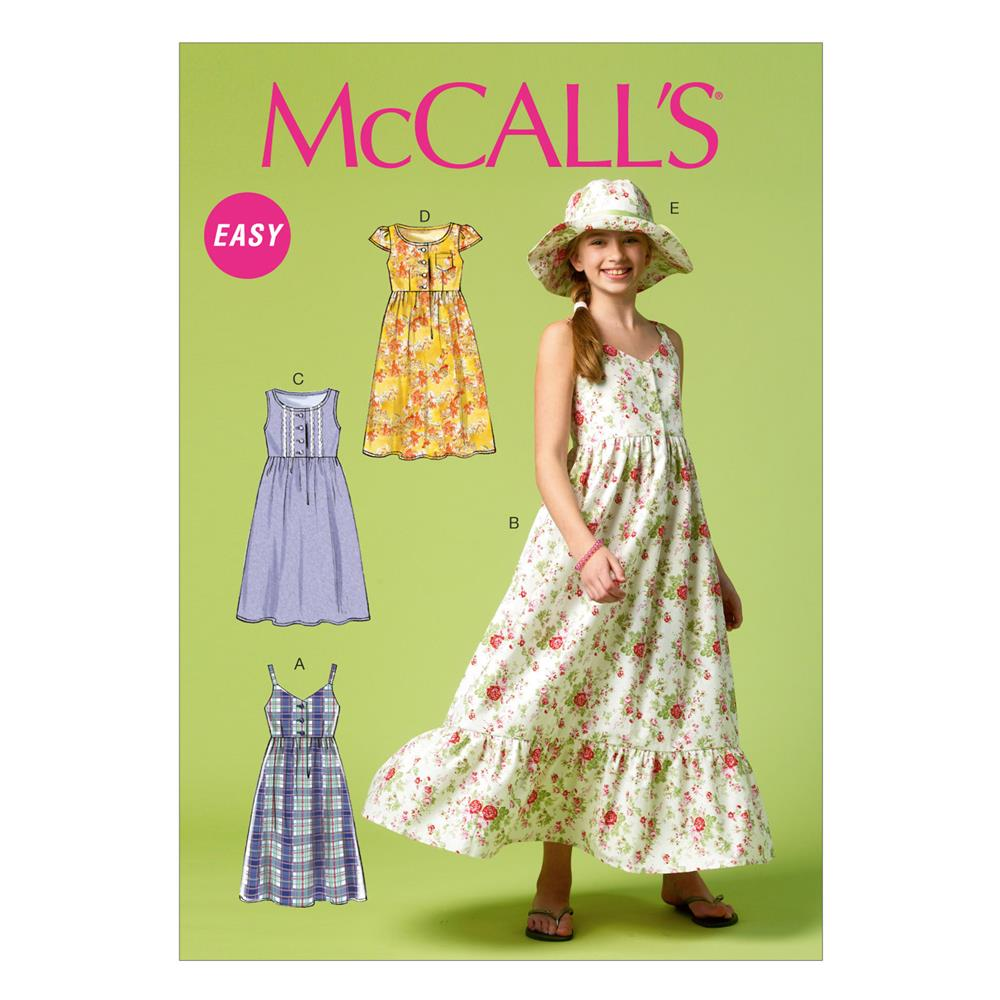 McCall's Girls'/Girls' Plus Dresses and Hat M6919 Size
