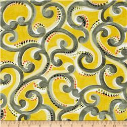 Contempo Precious Metals Scroll Yellow Fabric