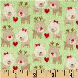Riley Blake Home for the Holidays Flannel Deer Green