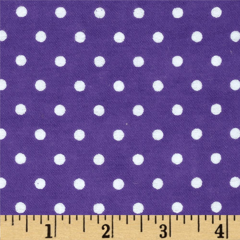 Aunt Polly's Flannel Small Polka Dots Purple/White
