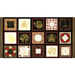 "Season's Greetings Metallic 7"" Squares Panel Black"