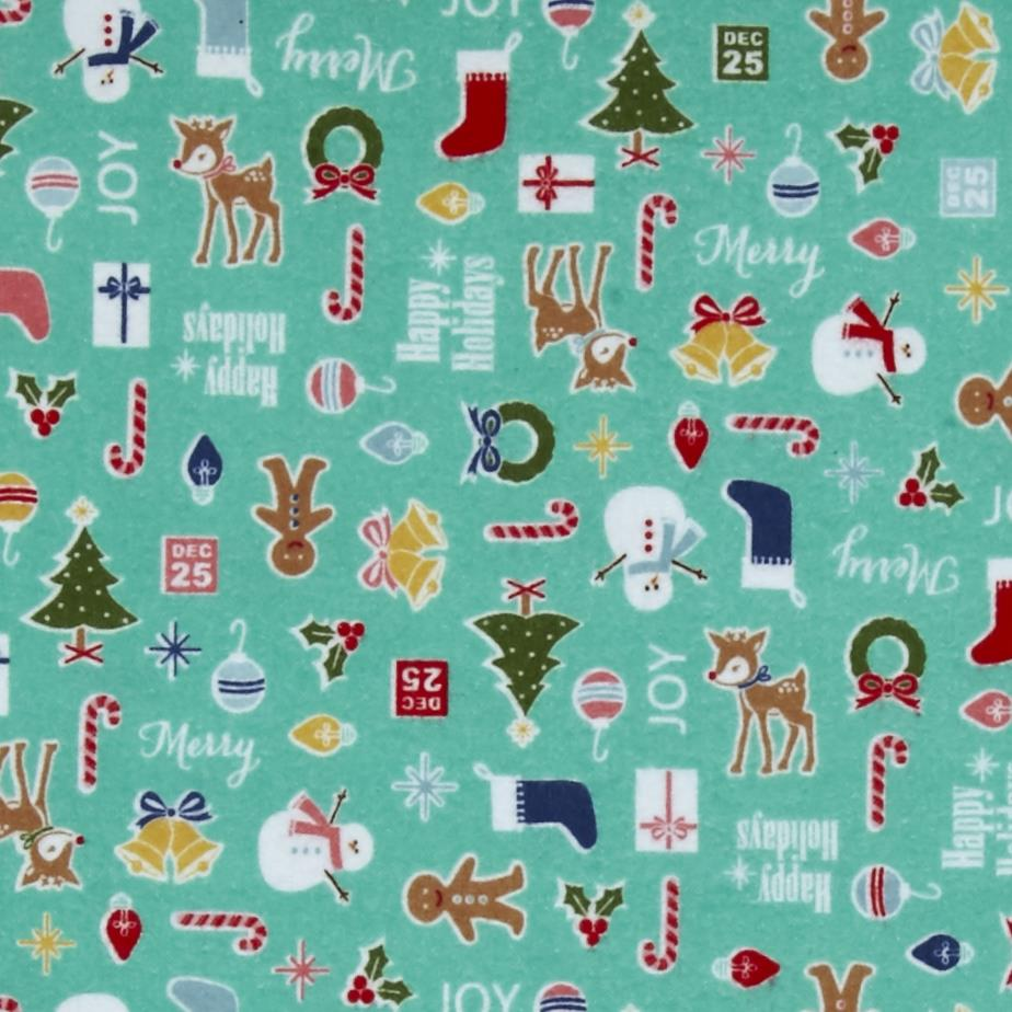 Riley Blake Cozy Christmas Flannel Main Teal Fabric By The Yard