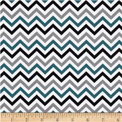 Ups & Downs Chevron Teal/Grey/Black Fabric