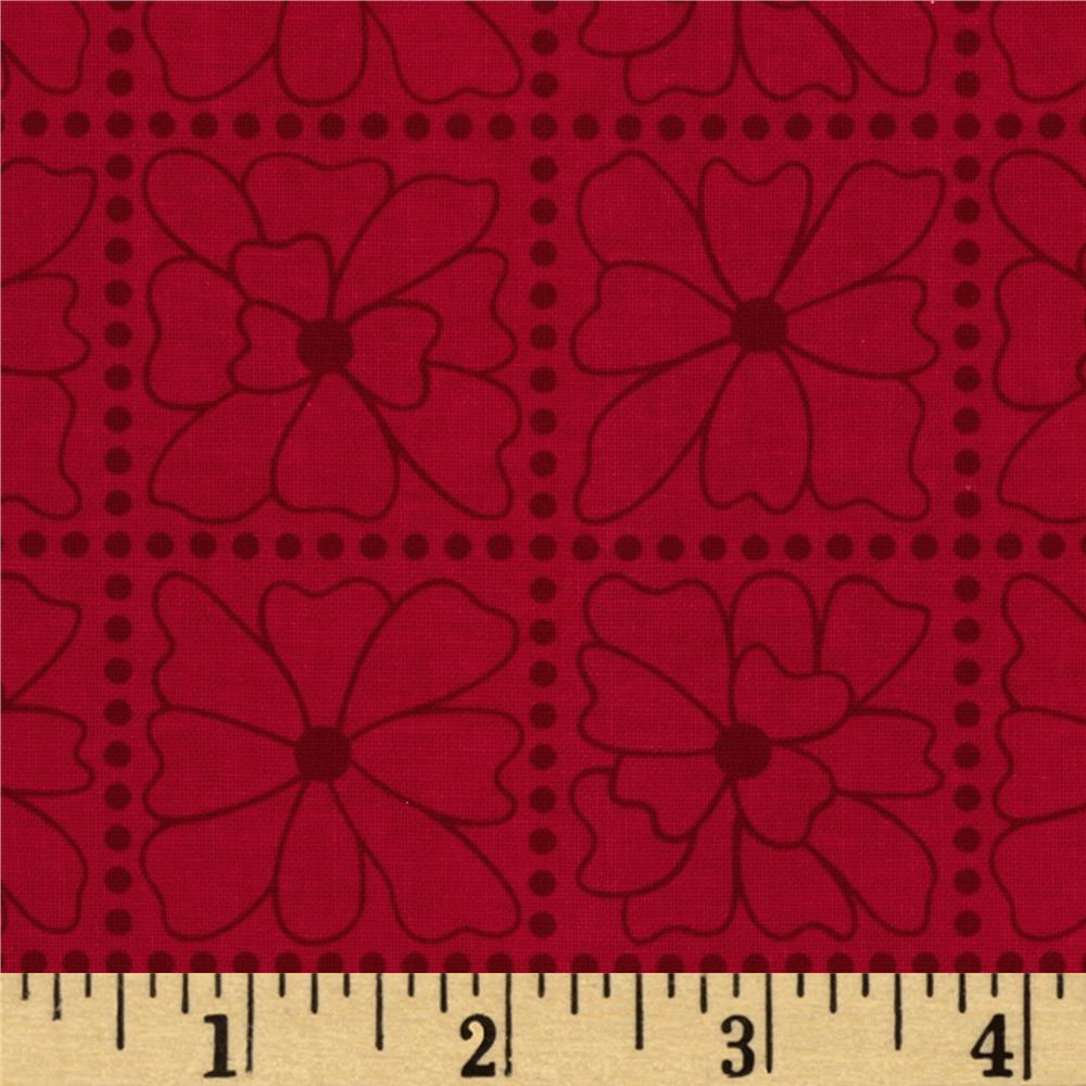 Seaside Cottage Floral Tile Tonal Red