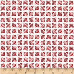 Kaufman Pretty Posies Flower Grid Red