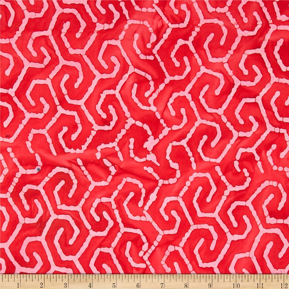 Indian Batik Maze Pink/Red