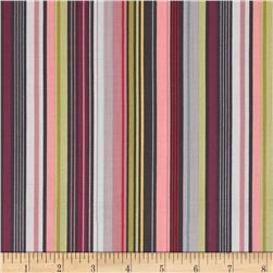 Deco Flowers Stripe Dark Pink