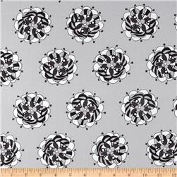 Licorice Fizz Large Tossed Floral Grey