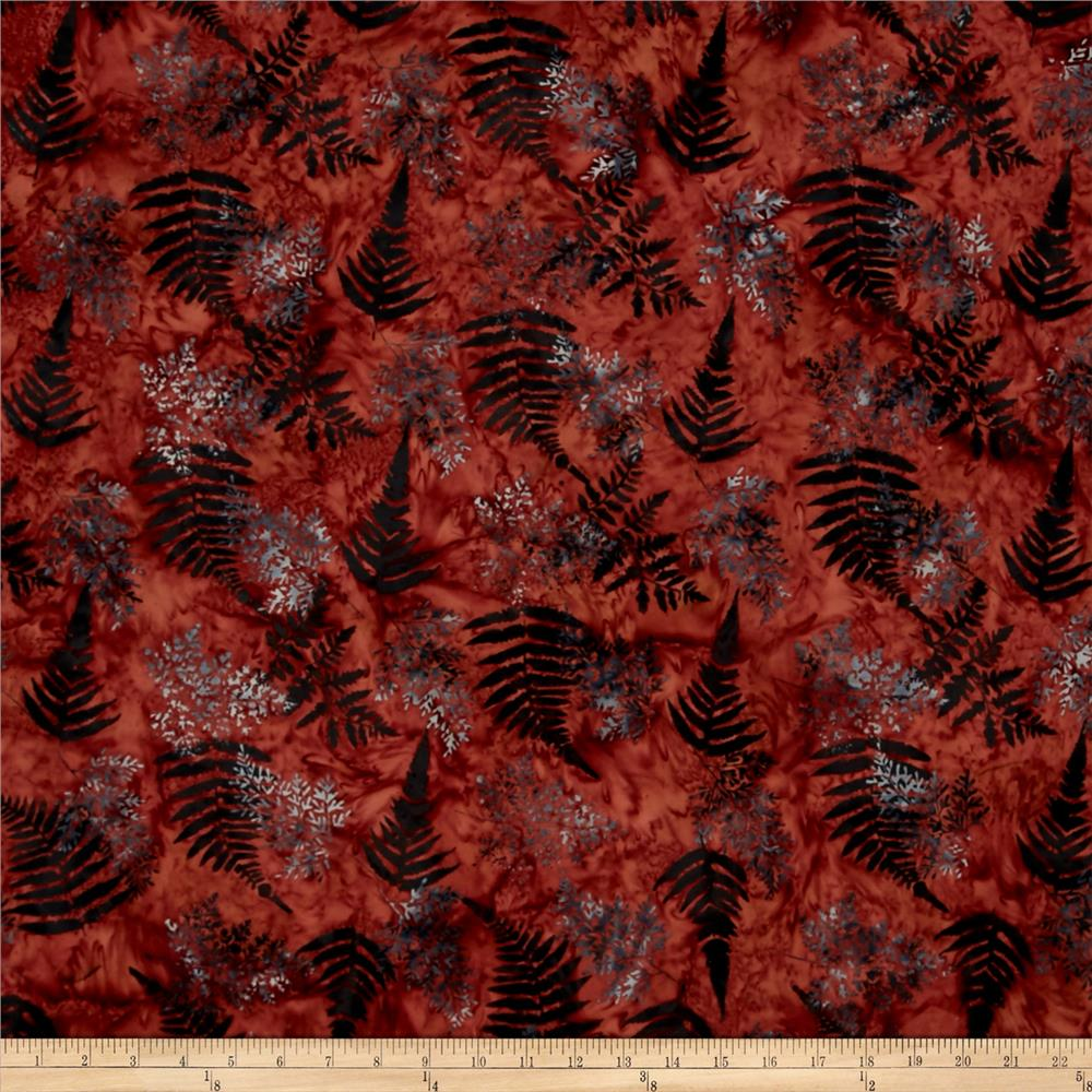 Bali Batiks Handpaints Fern Barn Red