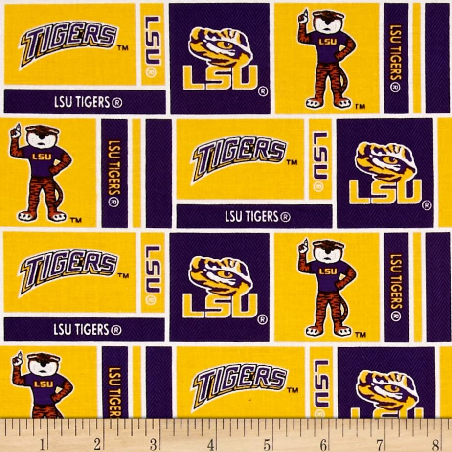 Collegiate Cotton Broadcloth Louisiana State University Squares Purple/Yellow Fabric
