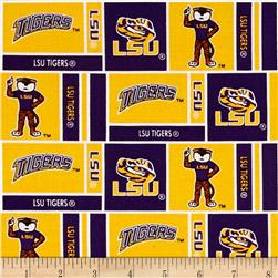 Collegiate Cotton Broadcloth Louisiana State University Squares Purple/Yellow
