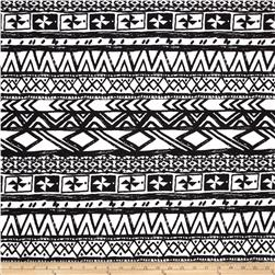 Poly Spandex ITY Jersey Knit Abstract Aztec Black/White