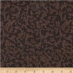 "110"" Wide Flannel Quilt Backing Leaf  Brown"
