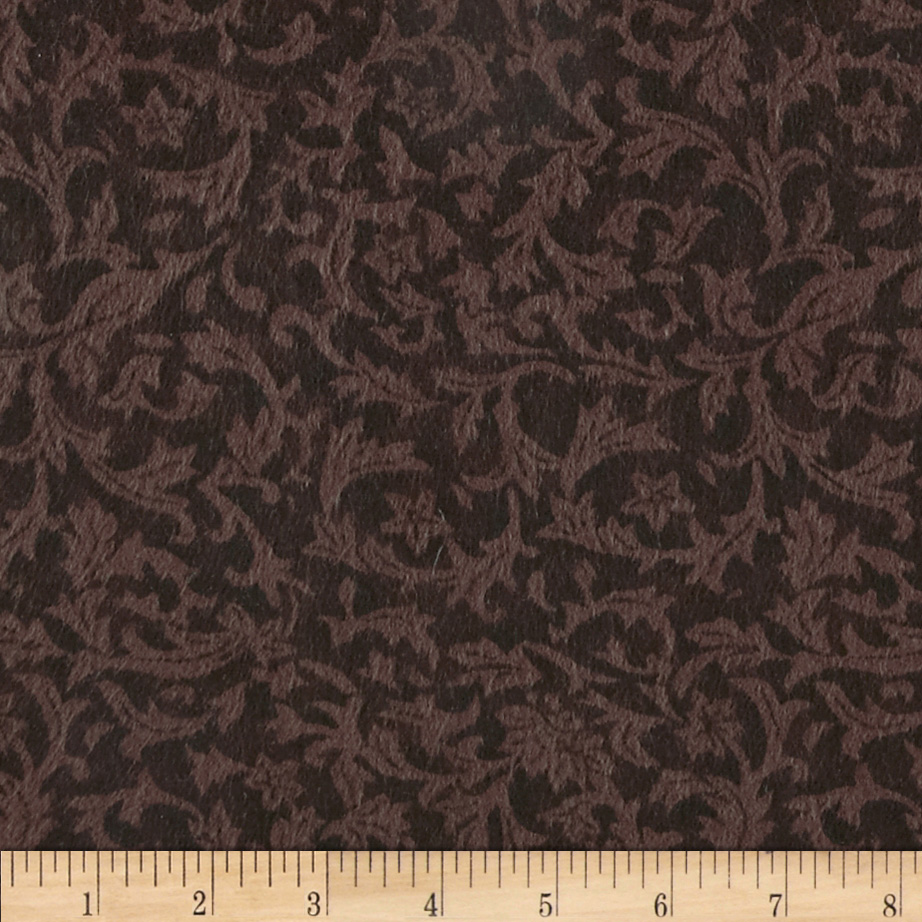 110'' Wide Flannel Quilt Backing Leaf Brown Fabric