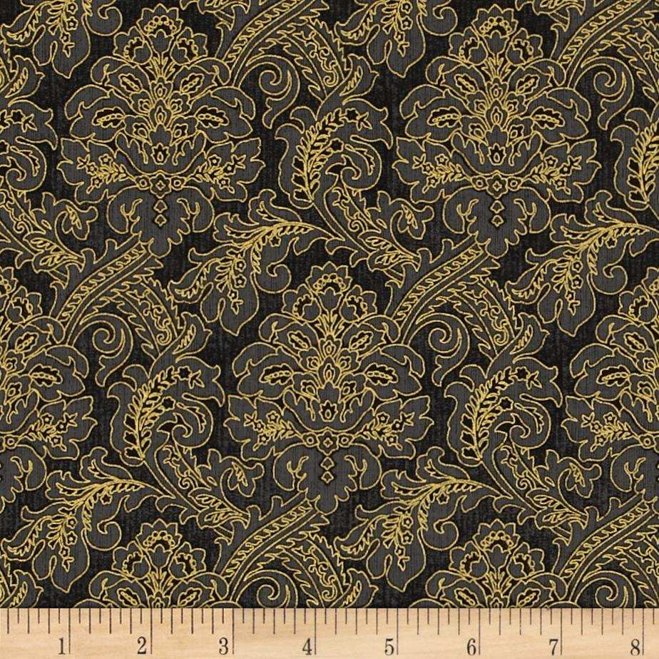Moonlight Peacock Metallic Tapestry Black/Gold