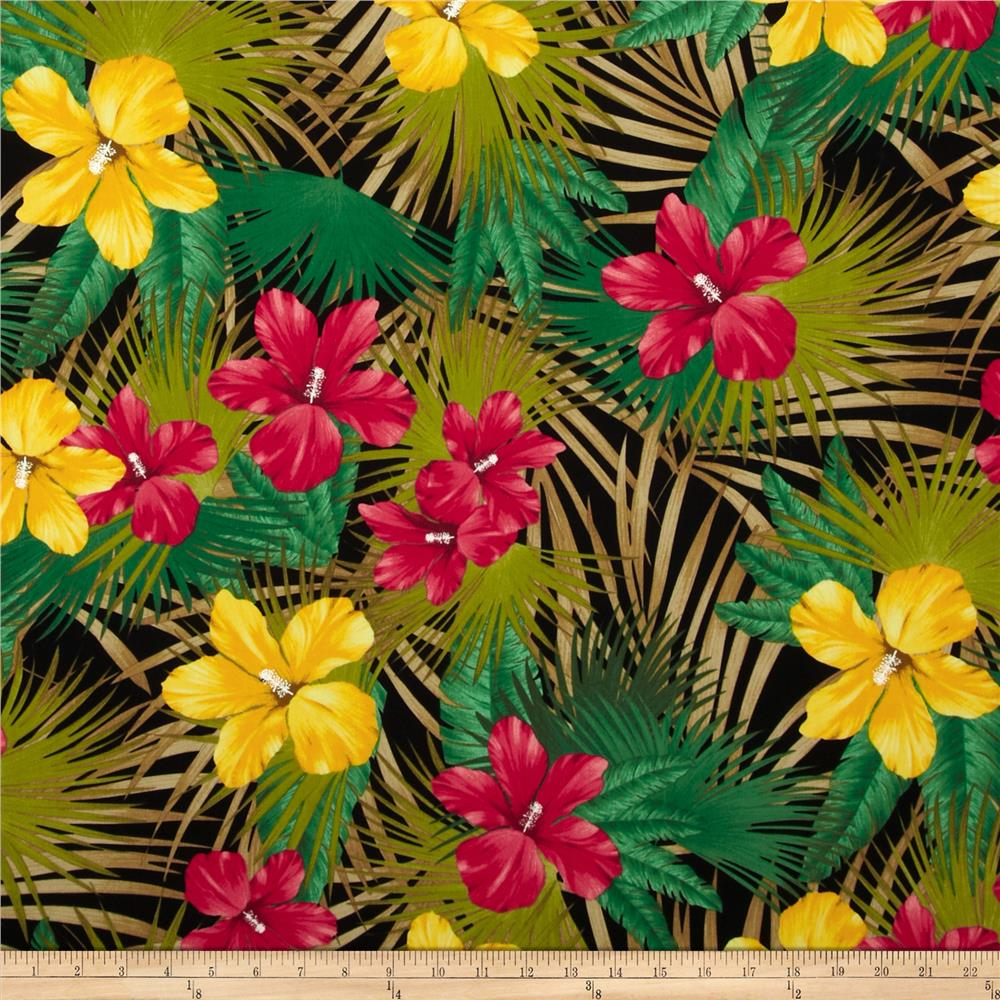 Kaufman Tahitian Nights Poplin Jungle Flowers Black