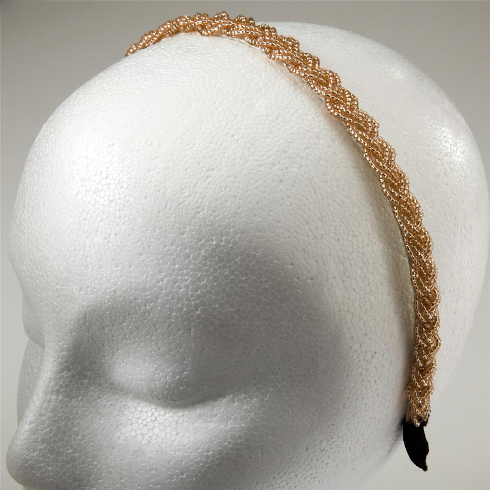 1/2'' Braided Rocaille Beaded Headband Champagne