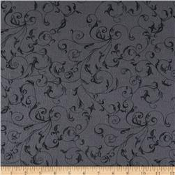 110'' Wide Flannel Quilt Backing Filigree Grey