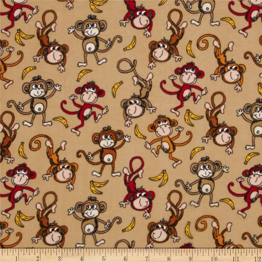 Comfy Flannel Tossed Monkeys Brown