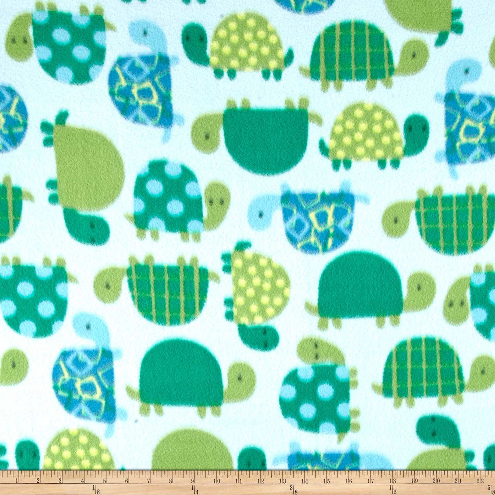 Winter Fleece Turtle Time Blue/Green Fabric by Windham in USA