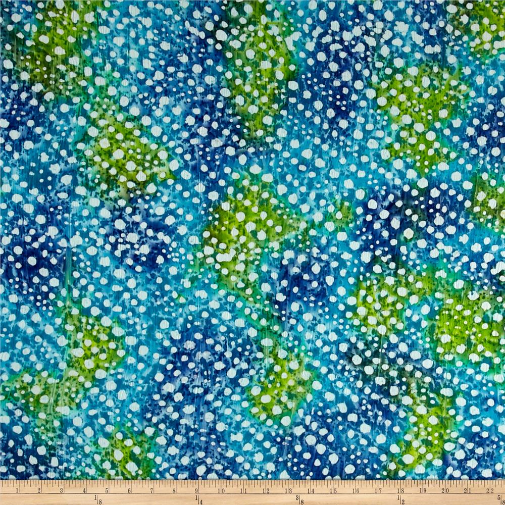 Indian Batik Crinkle Cotton Print Dots Blue/Green