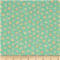 Moda Print Charming Etched Flowers Teal