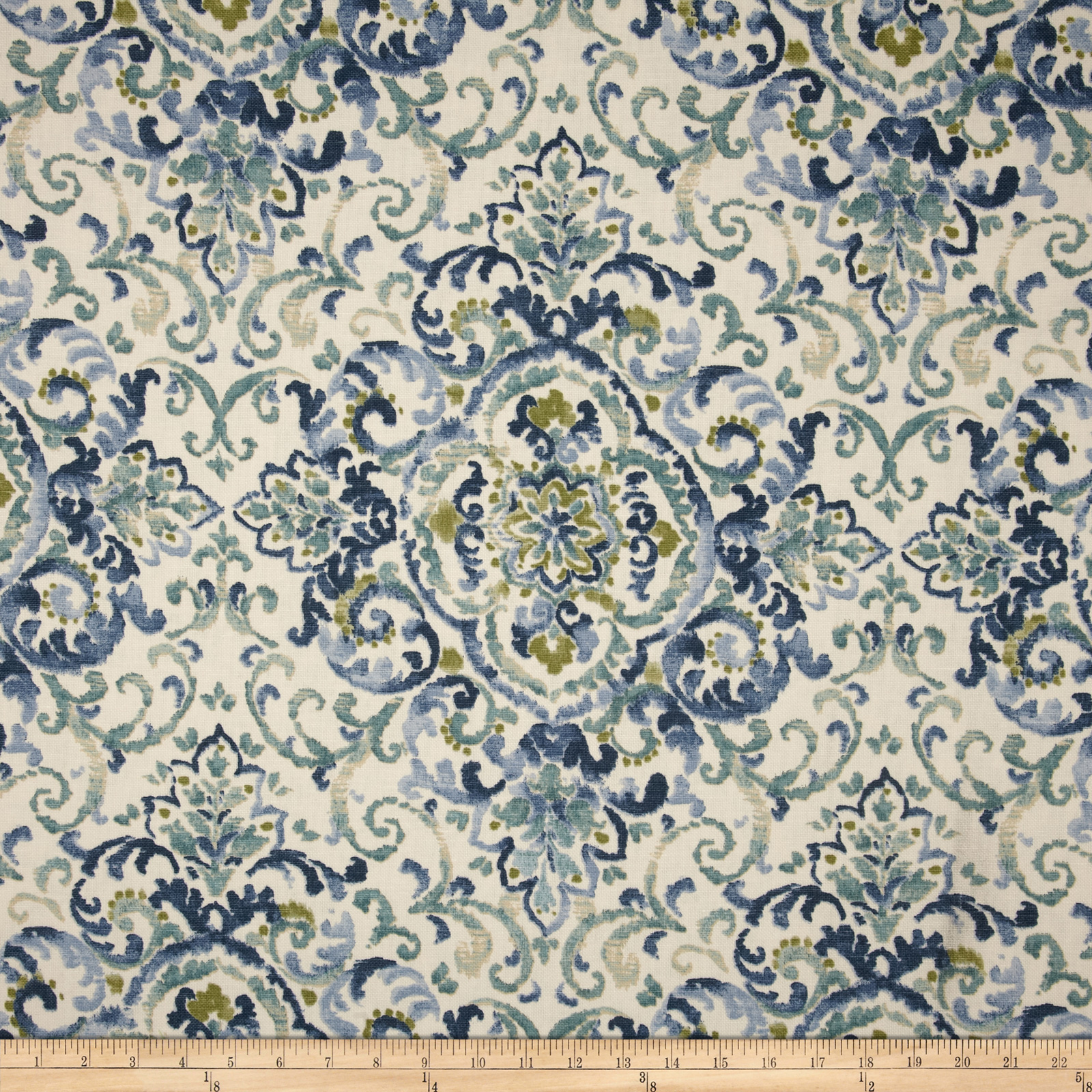 Duralee Home Quentin Damask Blue/Green Fabric