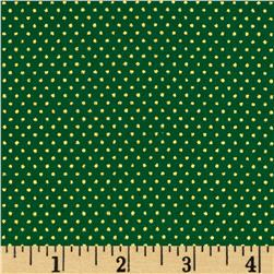 Christmas Jewels Dots Metallic Gold/Green Fabric