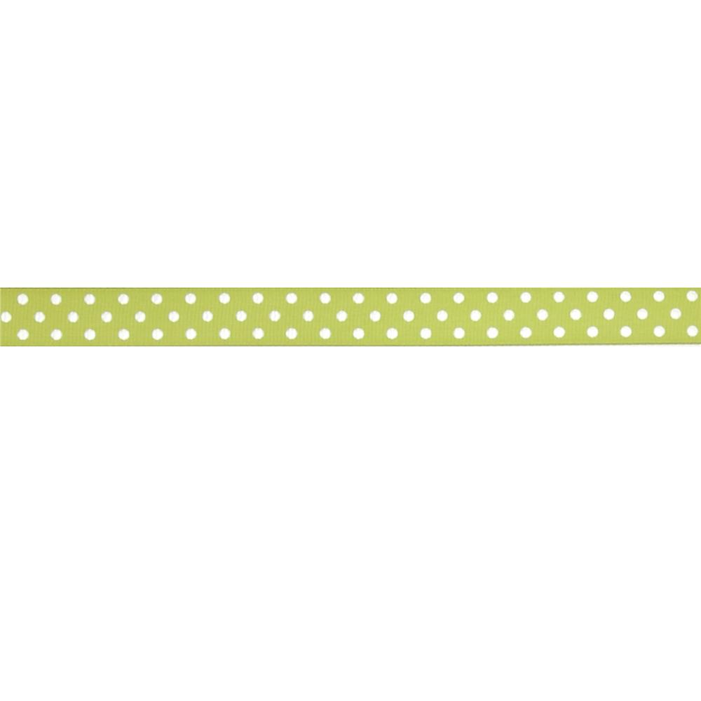 "May Arts 5/8"" Grosgrain Dots Ribbon Spool Light Green/White"
