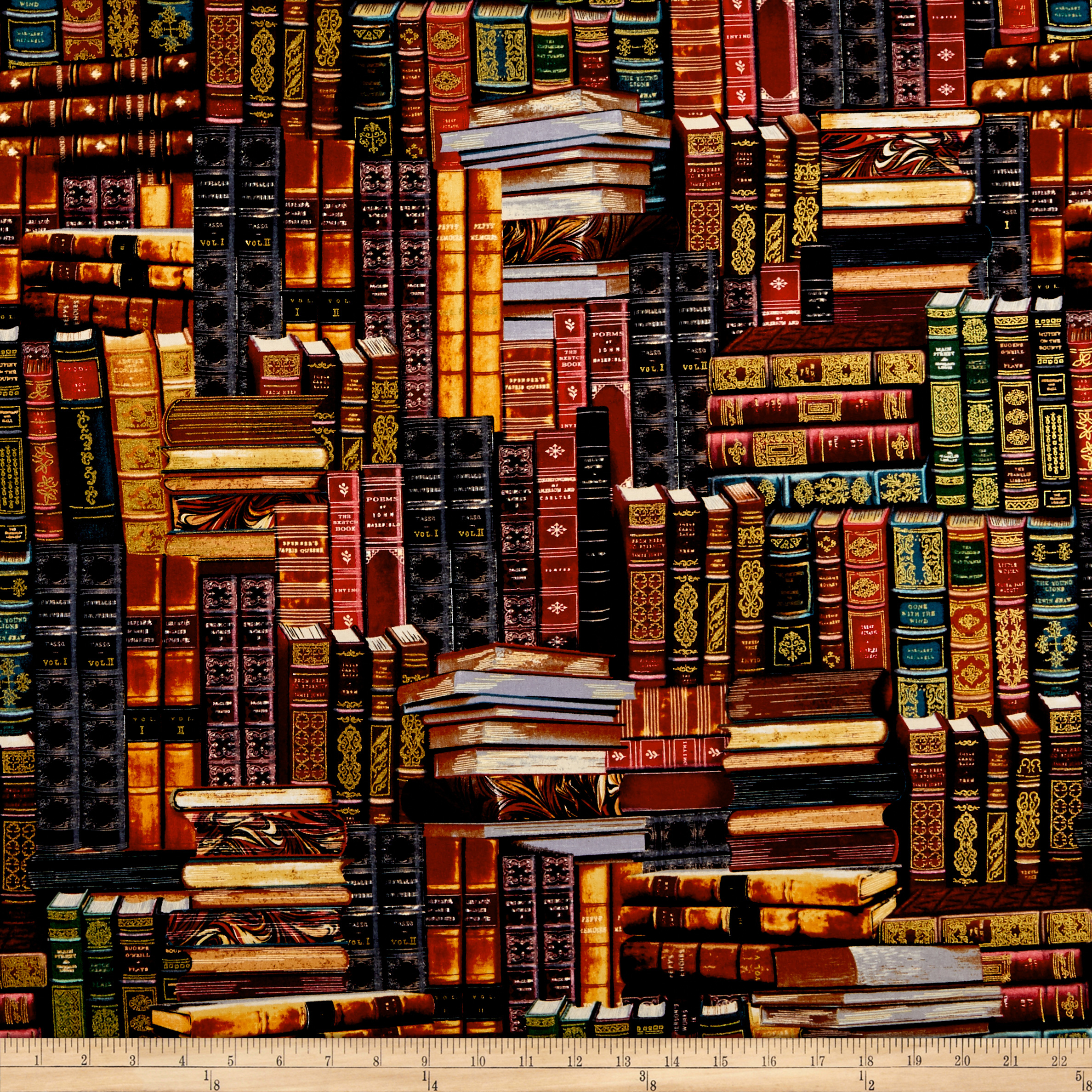 Image of Timeless Treasures Packed Books Multi Fabric