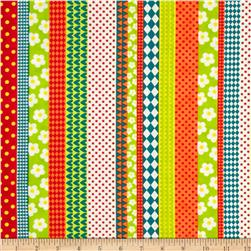 Moda Here Boy! Playful Stripes Green/Orange