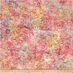 Batavian Batiks Dancing Flowers Pink/Orange