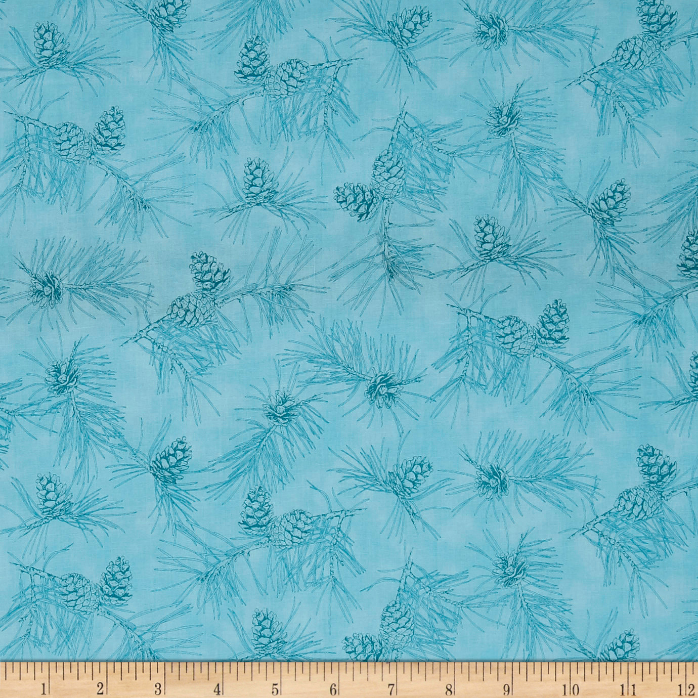 QT Fabrics By Water's Edge Pinecone Toile Blue