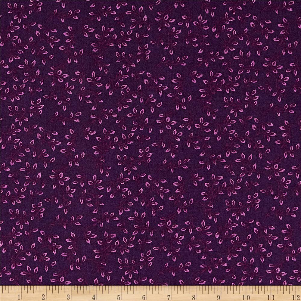 108'' Wide Quilt Backing Folio Vines Purple