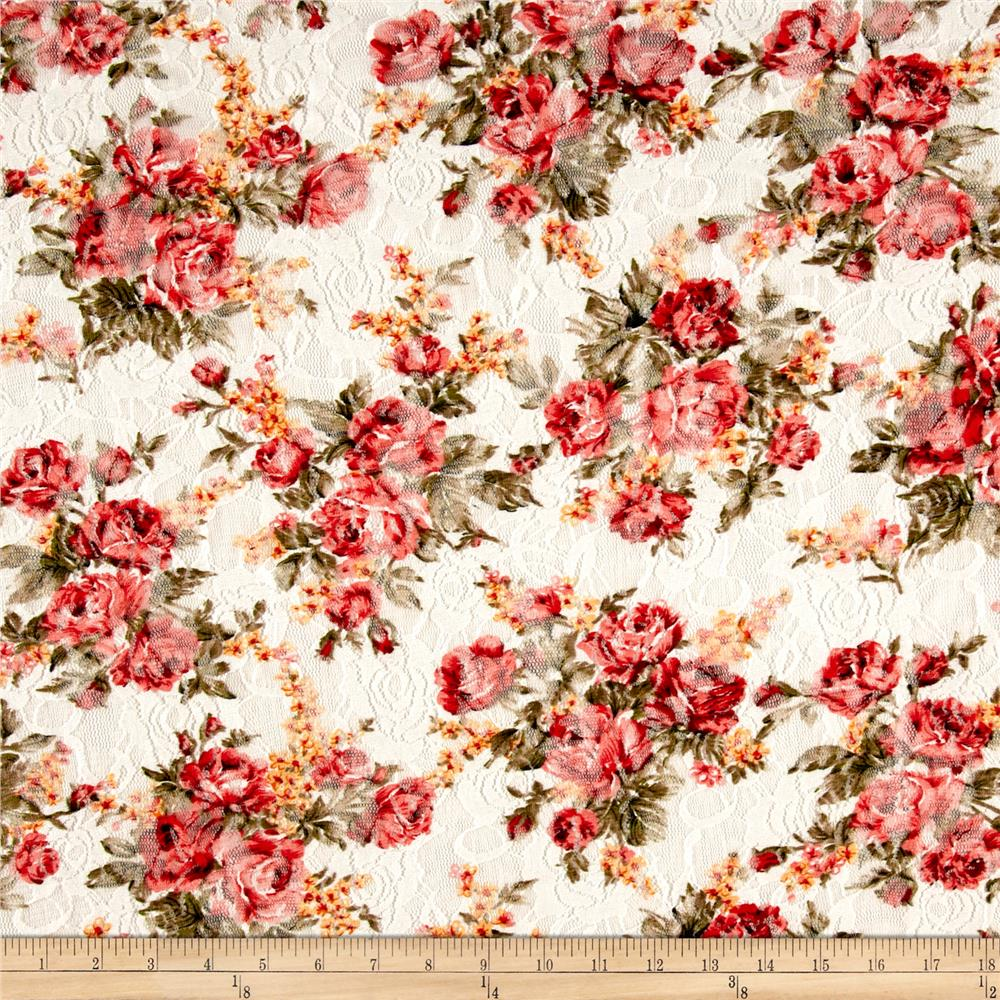 Printed Stretch Lace Floral White/Rose/Green/Black
