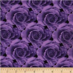 Stretch Jersey Knit Roses Purple