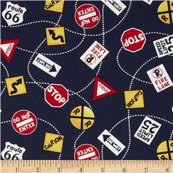 Zip Zoom Tossed Road Signs Navy