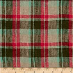 Designer Double Cloth Plaid Shirting Pink/Brown