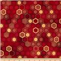 Winter's Grandeur Metallic Honeycomb Crimson