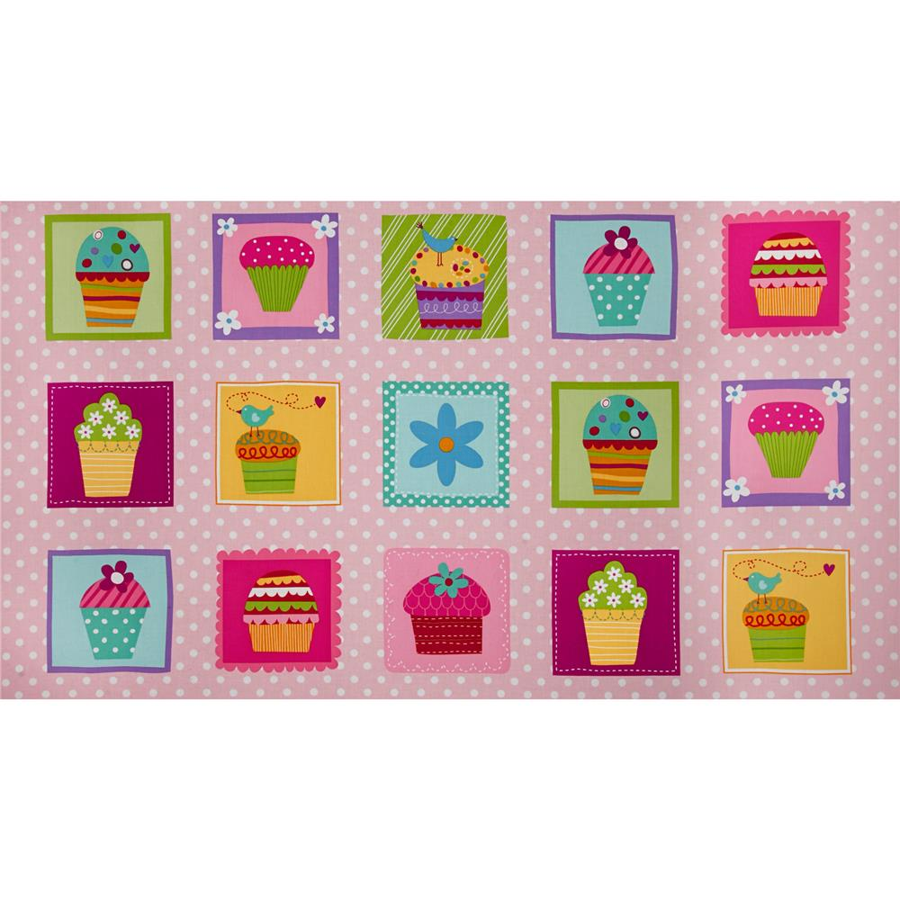 Sprinkles Please Panel Cupcake Blocks Pink