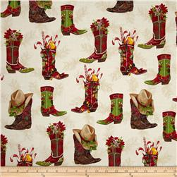 Robert Kaufman Holly Jolly Christmas Cowboy Boots Holiday