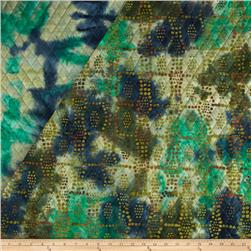 Indian Batik Double Face Quilted Dots Teal/Green