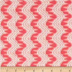Polyester Lace Chevron 2 Tone Peach/Cream