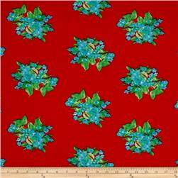 Stretch ITY Knit Large Floral Red