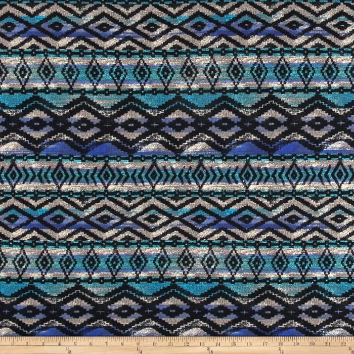 Sweater Knit Aztec Black/Blue