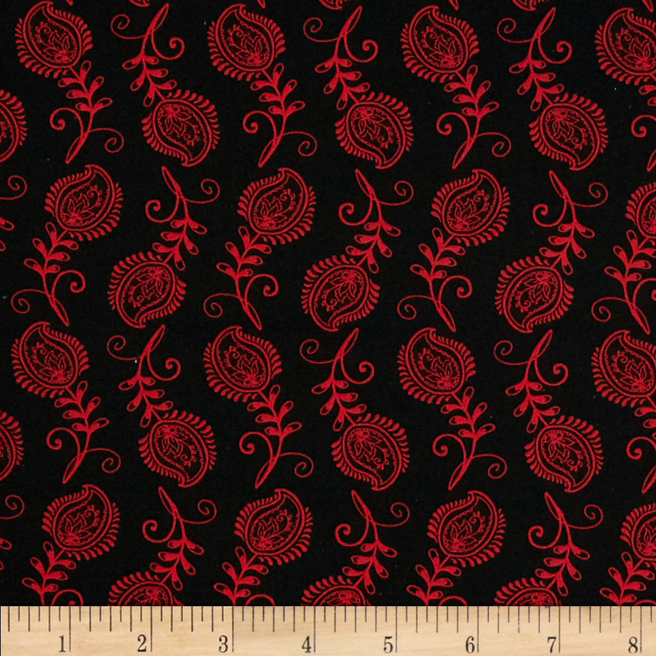 Contempo Feathers Black/Red Fabric by Santee in USA
