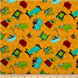 Monster Mash Hide & Seek Orange Fabric