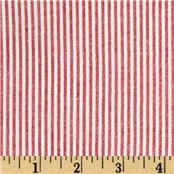Cotton Seersucker Stripe Red/White Fabric